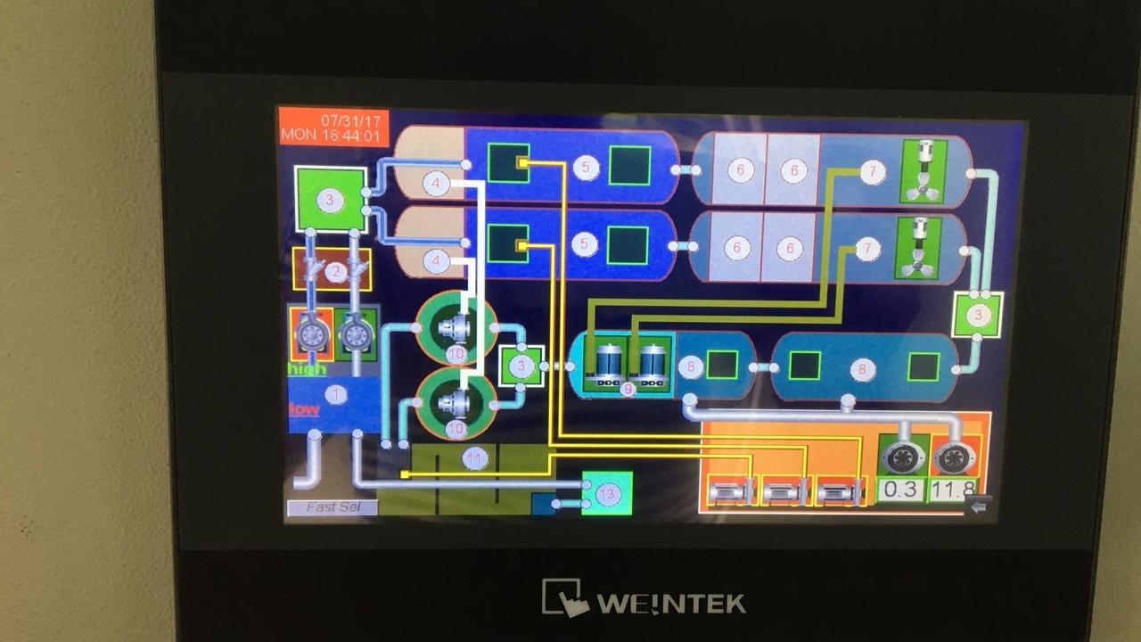 Màn hình PLC điều khiển xử lý nước thải